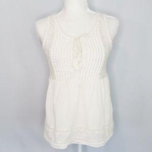 Lovestitch off-white & lace sleeveless top Medium